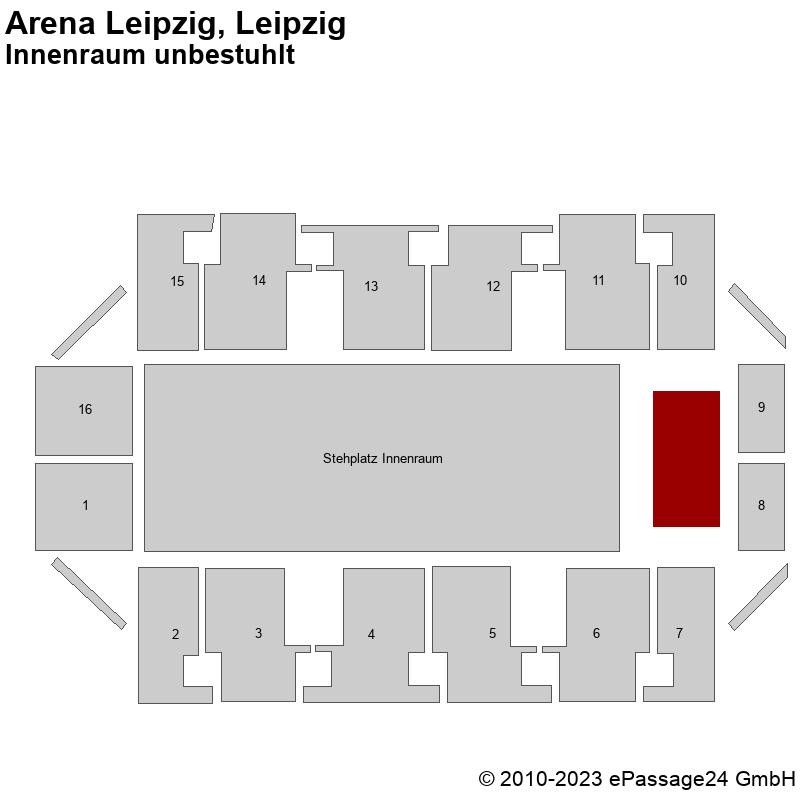 Saalplan Arena Leipzig, Leipzig, Deutschland, Innenraum unbestuhlt
