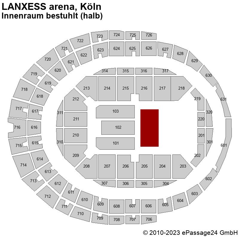 Saalplan LANXESS arena, Köln, Deutschland, Innenraum bestuhlt (halb)