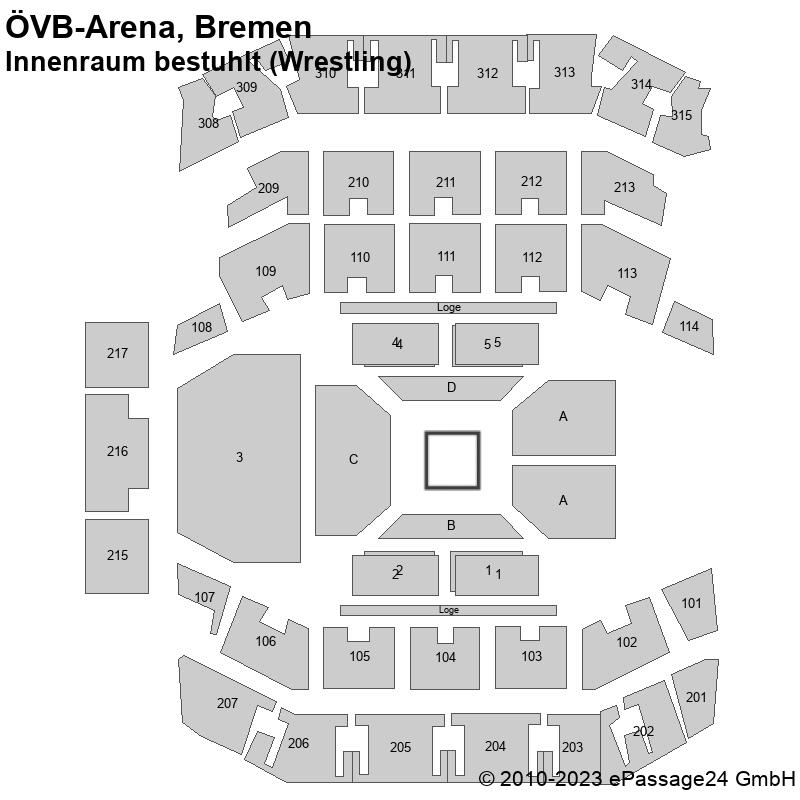 Saalplan ÖVB-Arena, Bremen, Deutschland, Innenraum bestuhlt (Wrestling)