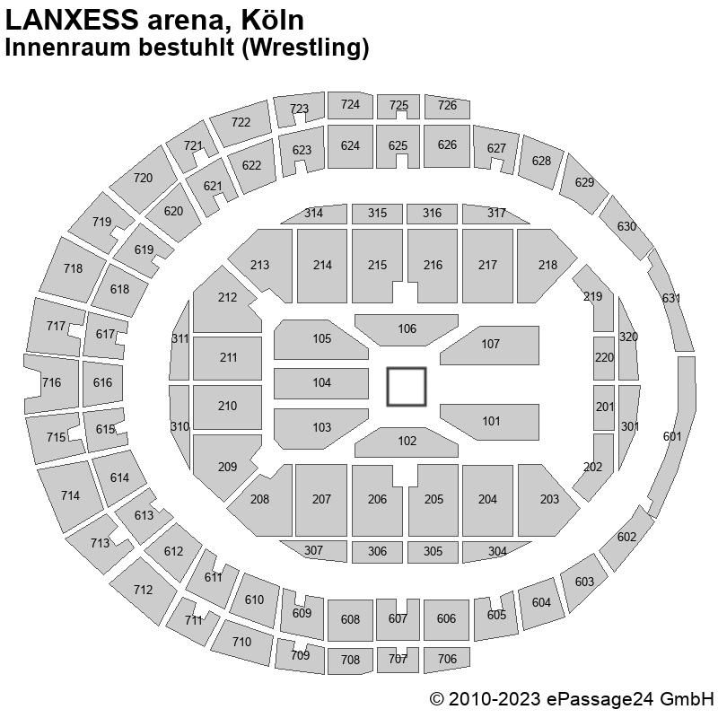 Saalplan LANXESS arena, Köln, Deutschland, Innenraum bestuhlt (Wrestling)