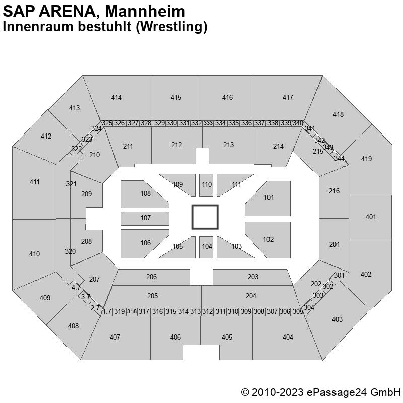 Saalplan SAP ARENA, Mannheim, Deutschland, Innenraum bestuhlt (Wrestling)