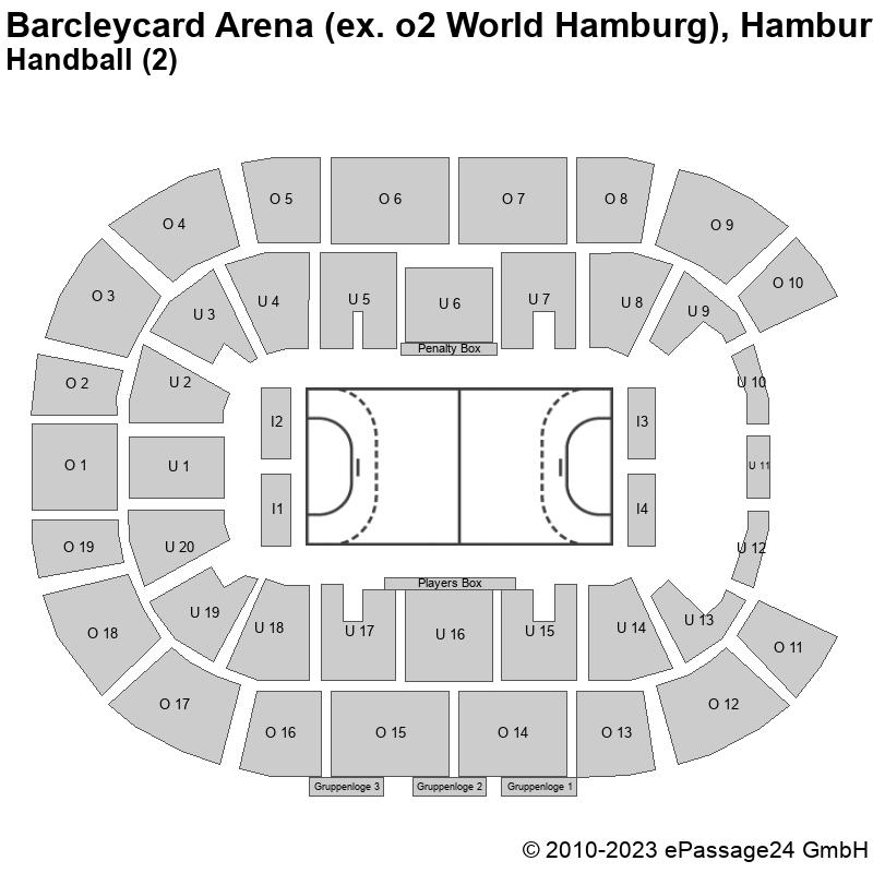 Saalplan Barcleycard Arena (ex. o2 World Hamburg), Hamburg, Deutschland, Handball (2)