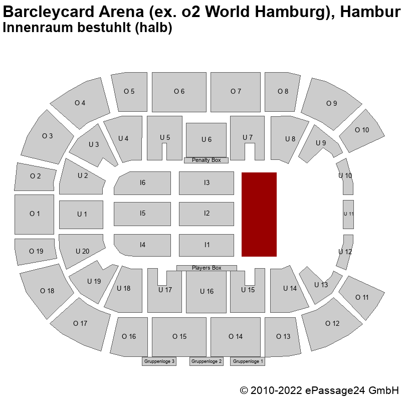 Saalplan Barcleycard Arena (ex. o2 World Hamburg), Hamburg, Deutschland, Innenraum bestuhlt (halb)