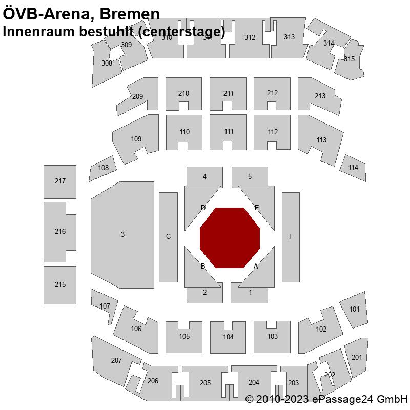 Saalplan ÖVB-Arena, Bremen, Deutschland, Innenraum bestuhlt (centerstage)