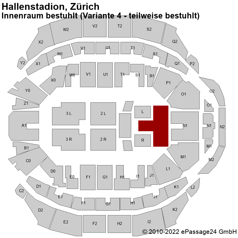 Saalplan Hallenstadion, Zürich, Schweiz, Innenraum bestuhlt (Variante 4 - teilweise bestuhlt)