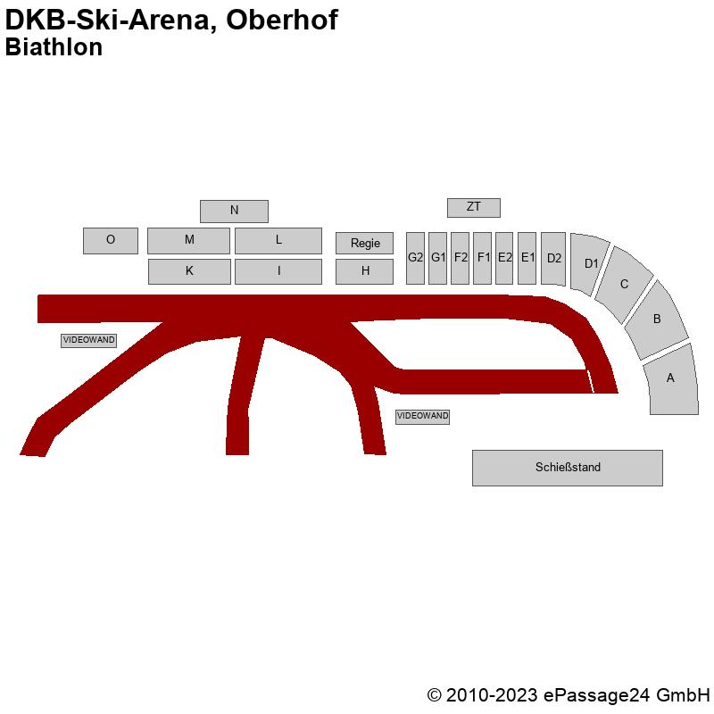 Saalplan DKB-Ski-Arena, Oberhof, Deutschland, Biathlon