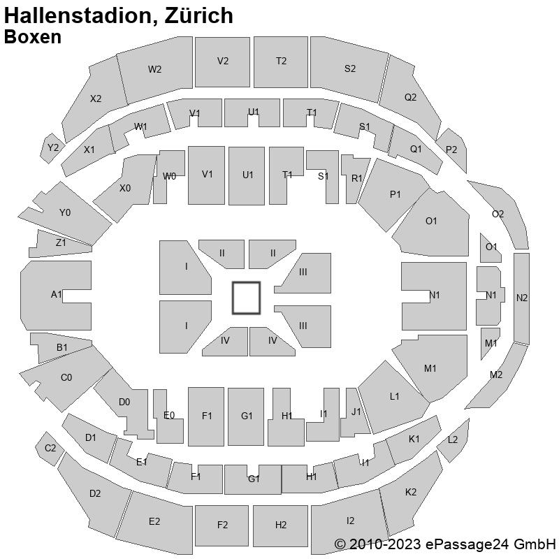 Saalplan Hallenstadion, Zürich, Schweiz, Boxen
