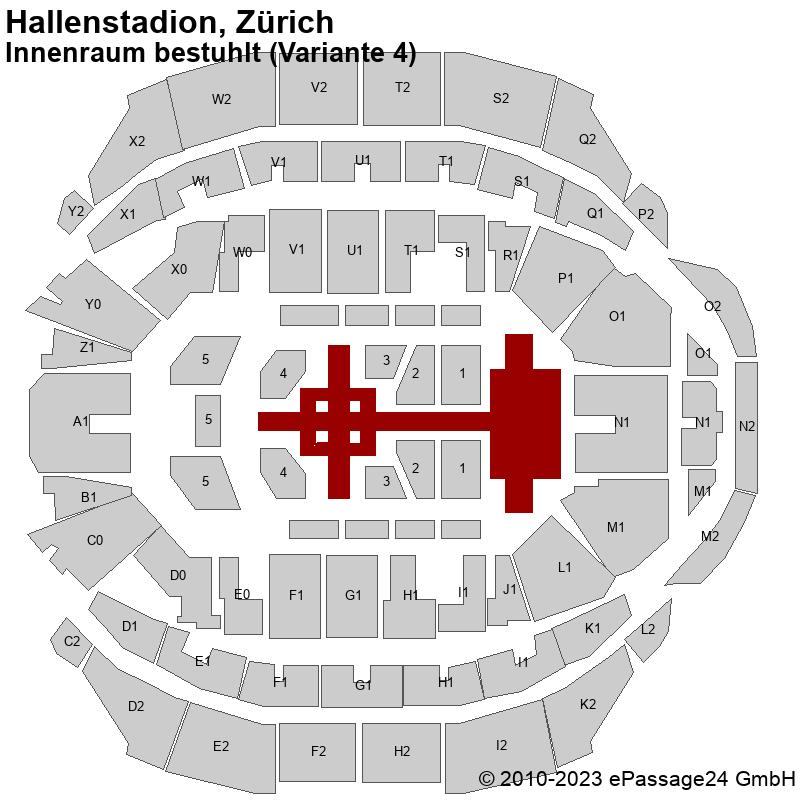 Saalplan Hallenstadion, Zürich, Schweiz, Innenraum bestuhlt (Variante 4)