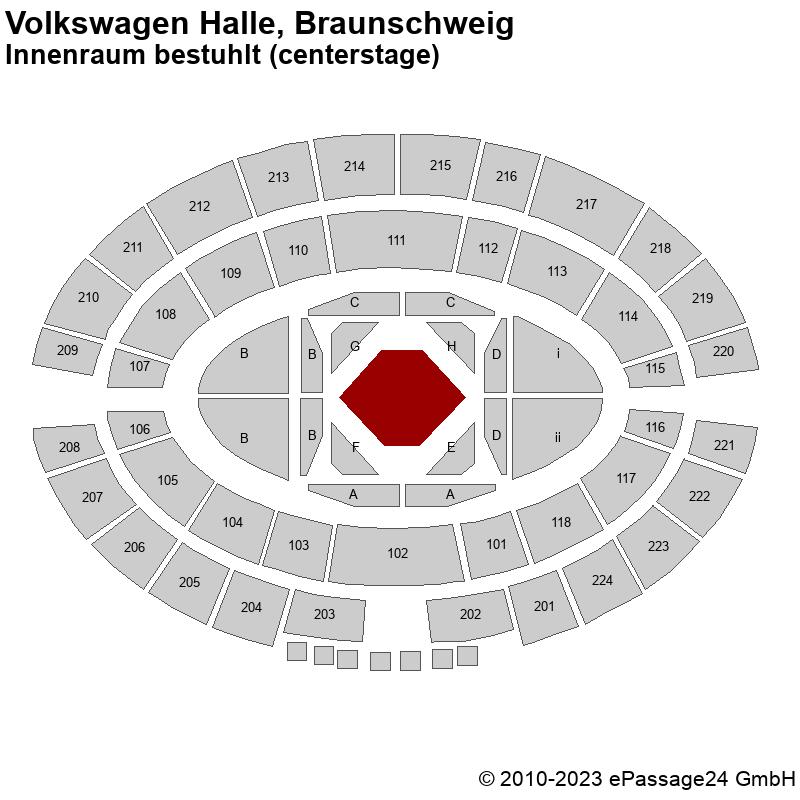 Saalplan Volkswagen Halle, Braunschweig, Deutschland, Innenraum bestuhlt (centerstage)