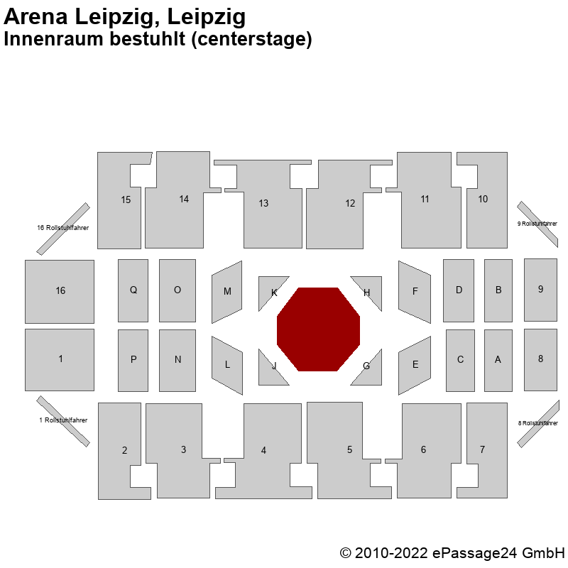 Saalplan Arena Leipzig, Leipzig, Deutschland, Innenraum bestuhlt (centerstage)
