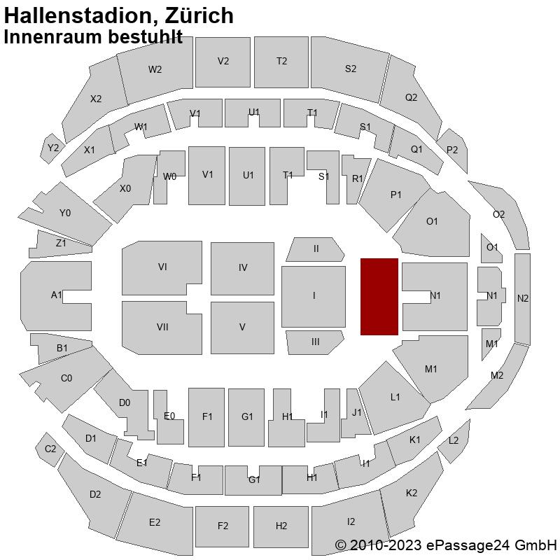 Saalplan Hallenstadion, Zürich, Schweiz, Innenraum bestuhlt