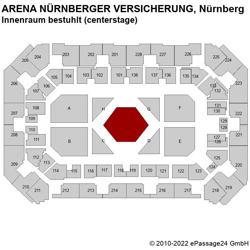 Saalplan ARENA NÜRNBERGER VERSICHERUNG, Nürnberg, Deutschland, Innenraum bestuhlt (centerstage)