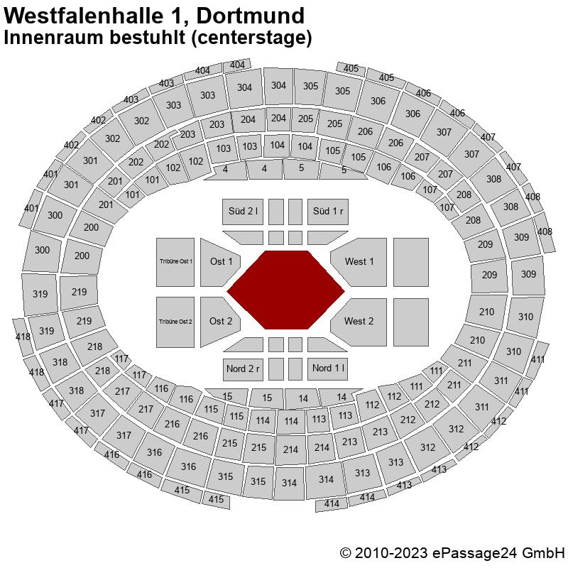 Saalplan Westfalenhalle 1, Dortmund, Deutschland, Innenraum bestuhlt (centerstage)