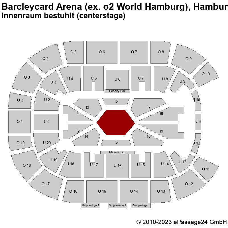 Saalplan Barcleycard Arena (ex. o2 World Hamburg), Hamburg, Deutschland, Innenraum bestuhlt (centerstage)