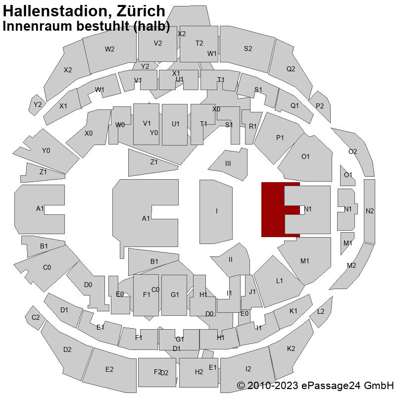 Saalplan Hallenstadion, Zürich, Schweiz, Innenraum bestuhlt (halb)