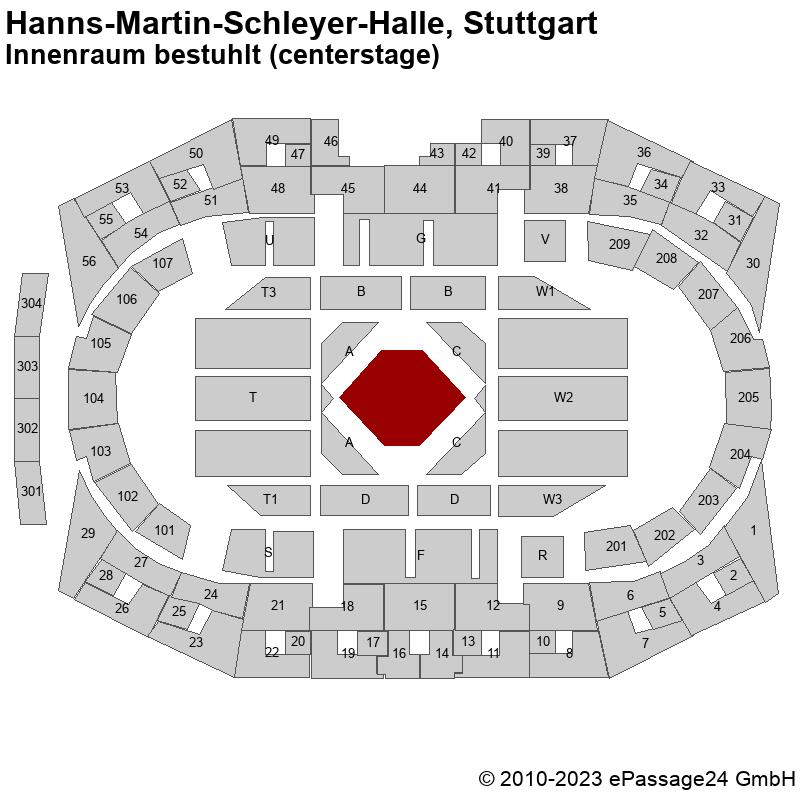 Saalplan Hanns-Martin-Schleyer-Halle, Stuttgart, Deutschland, Innenraum bestuhlt (centerstage)