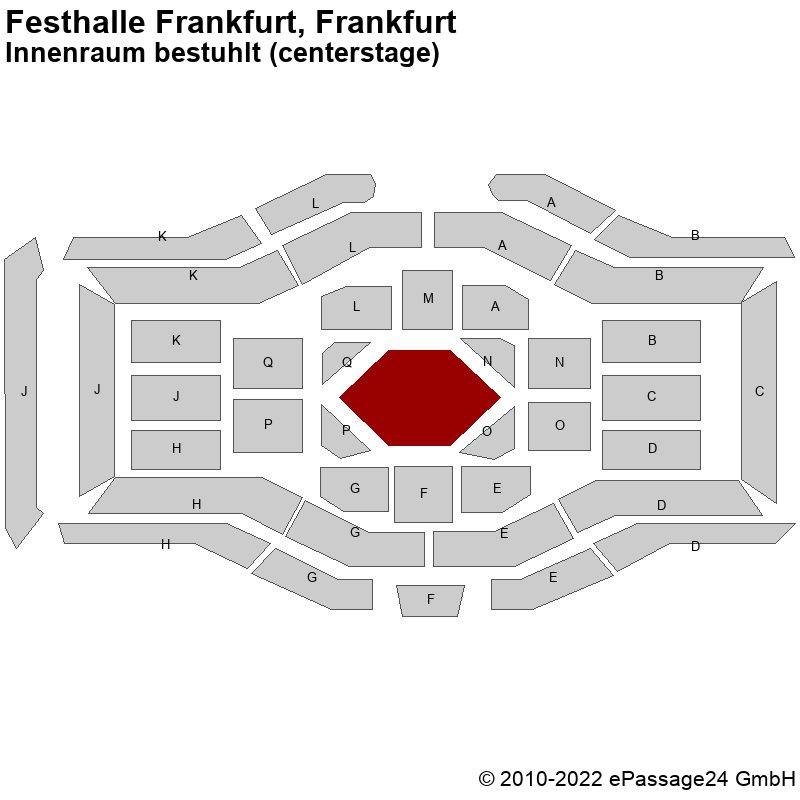 Saalplan Festhalle Frankfurt, Frankfurt, Deutschland, Innenraum bestuhlt (centerstage)