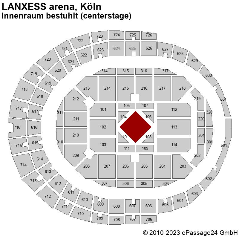 Saalplan LANXESS arena, Köln, Deutschland, Innenraum bestuhlt (centerstage)