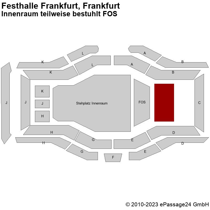 Saalplan Festhalle Frankfurt, Frankfurt, Deutschland, Innenraum teilweise bestuhlt FOS
