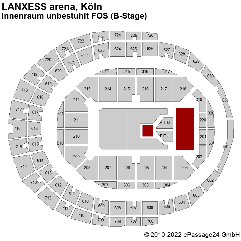 Saalplan LANXESS arena, Köln, Deutschland, Innenraum unbestuhlt FOS (B-Stage)