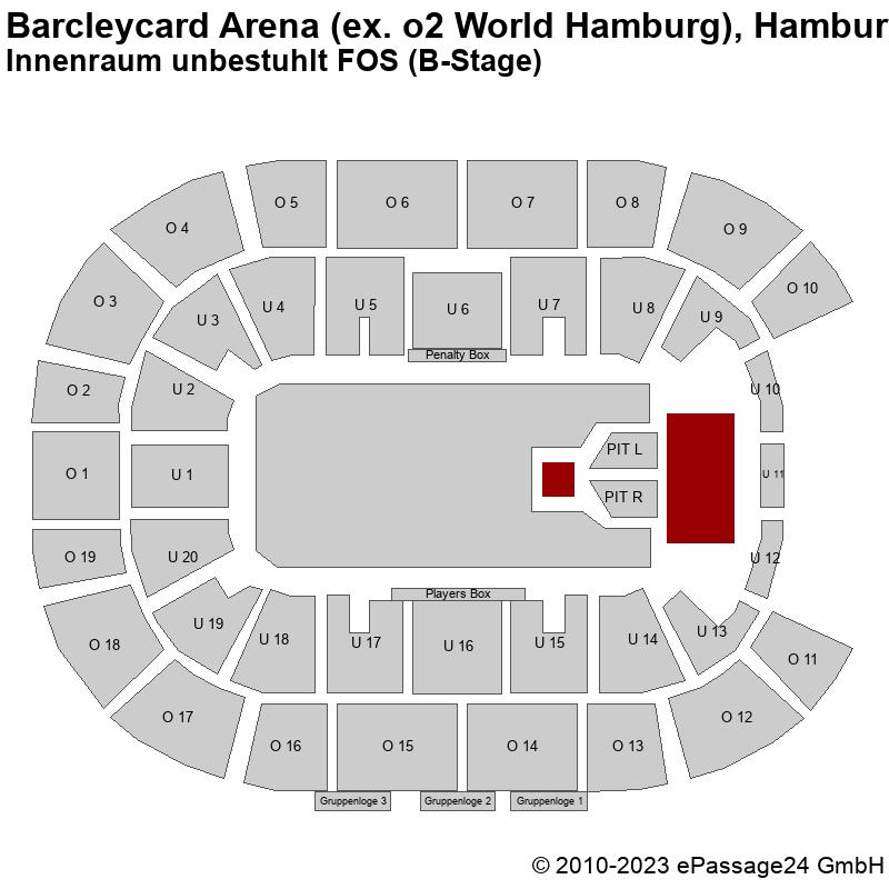 Saalplan Barcleycard Arena (ex. o2 World Hamburg), Hamburg, Deutschland, Innenraum unbestuhlt FOS (B-Stage)