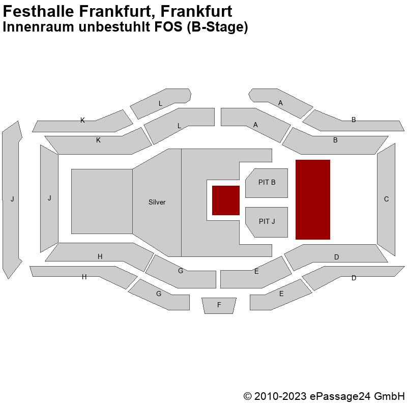 Saalplan Festhalle Frankfurt, Frankfurt, Deutschland, Innenraum unbestuhlt FOS (B-Stage)