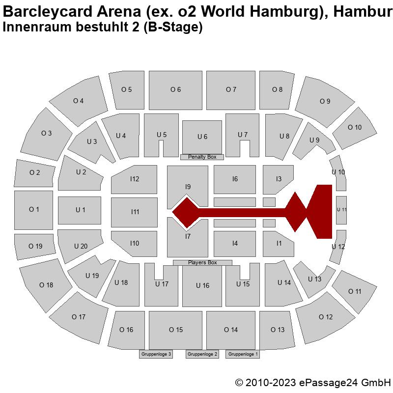 Saalplan Barcleycard Arena (ex. o2 World Hamburg), Hamburg, Deutschland, Innenraum bestuhlt 2 (B-Stage)