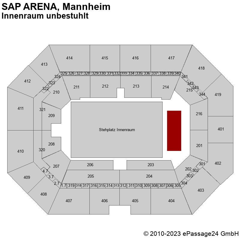 Saalplan SAP ARENA, Mannheim, Deutschland, Innenraum unbestuhlt