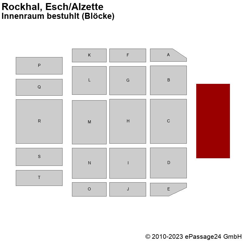 Saalplan Rockhal, Esch/Alzette, Luxembourg, Innenraum bestuhlt (Blöcke)