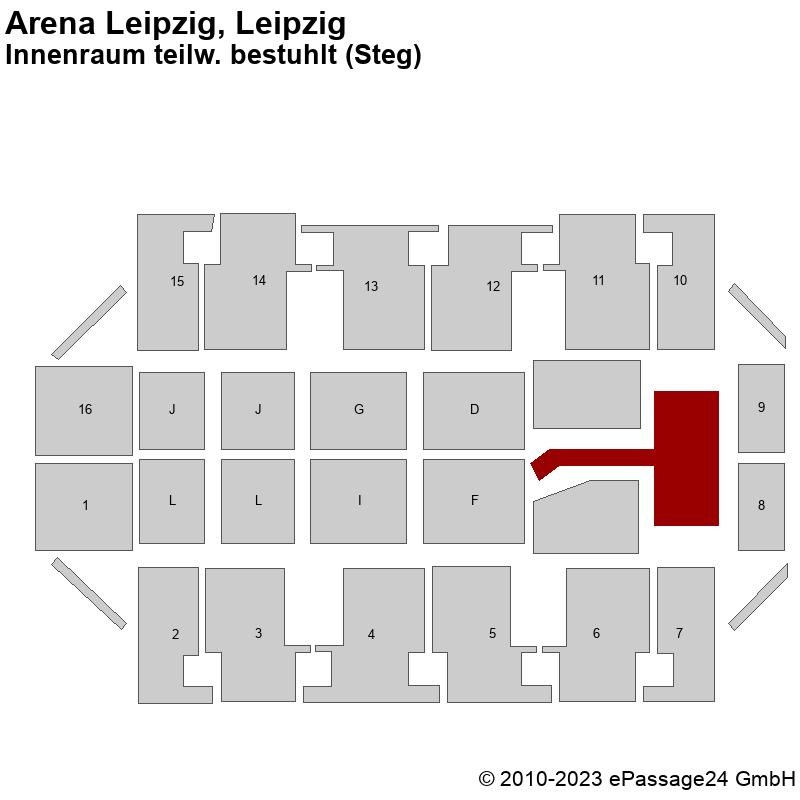Saalplan Arena Leipzig, Leipzig, Deutschland, Innenraum teilw. bestuhlt (Steg)