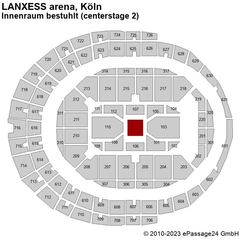 Saalplan LANXESS arena, Köln, Deutschland, Innenraum bestuhlt (centerstage 2)