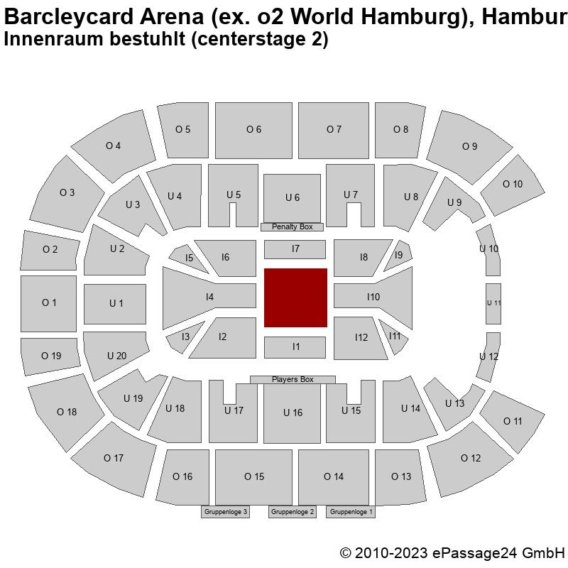 Saalplan Barcleycard Arena (ex. o2 World Hamburg), Hamburg, Deutschland, Innenraum bestuhlt (centerstage 2)