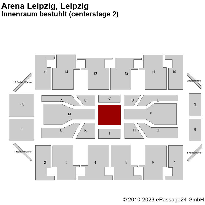 Saalplan Arena Leipzig, Leipzig, Deutschland, Innenraum bestuhlt (centerstage 2)