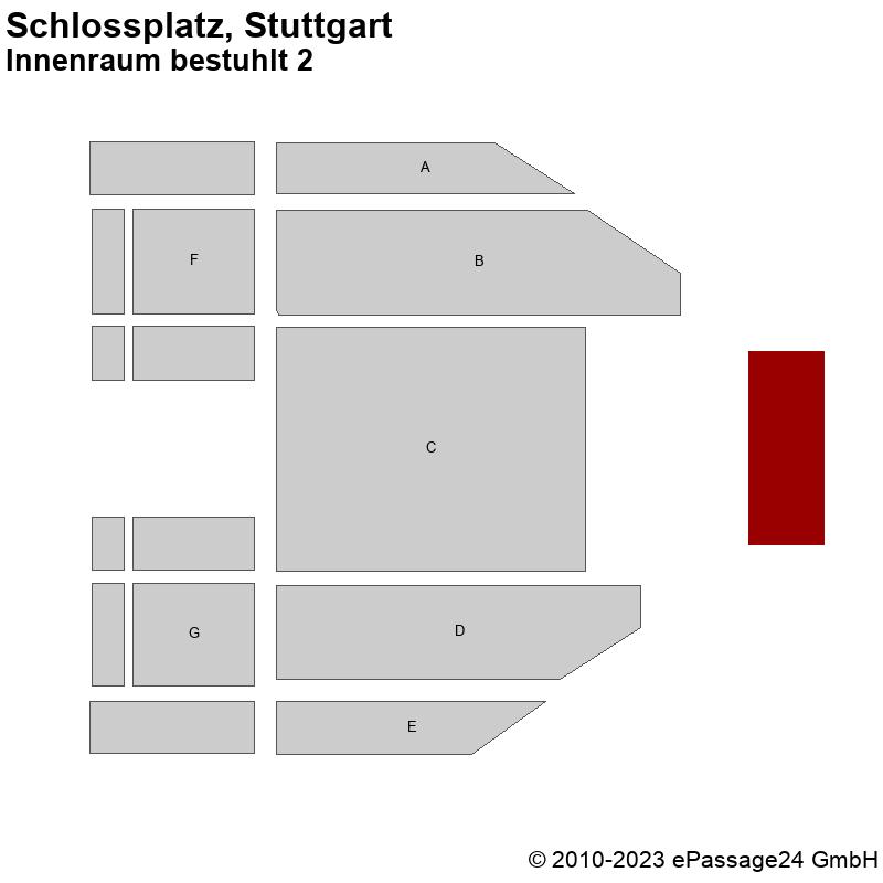 Saalplan Schlossplatz, Stuttgart, Deutschland, Innenraum bestuhlt 2