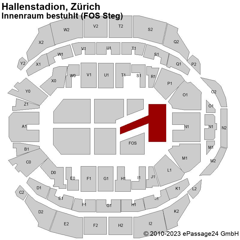 Saalplan Hallenstadion, Zürich, Schweiz, Innenraum bestuhlt (FOS Steg)