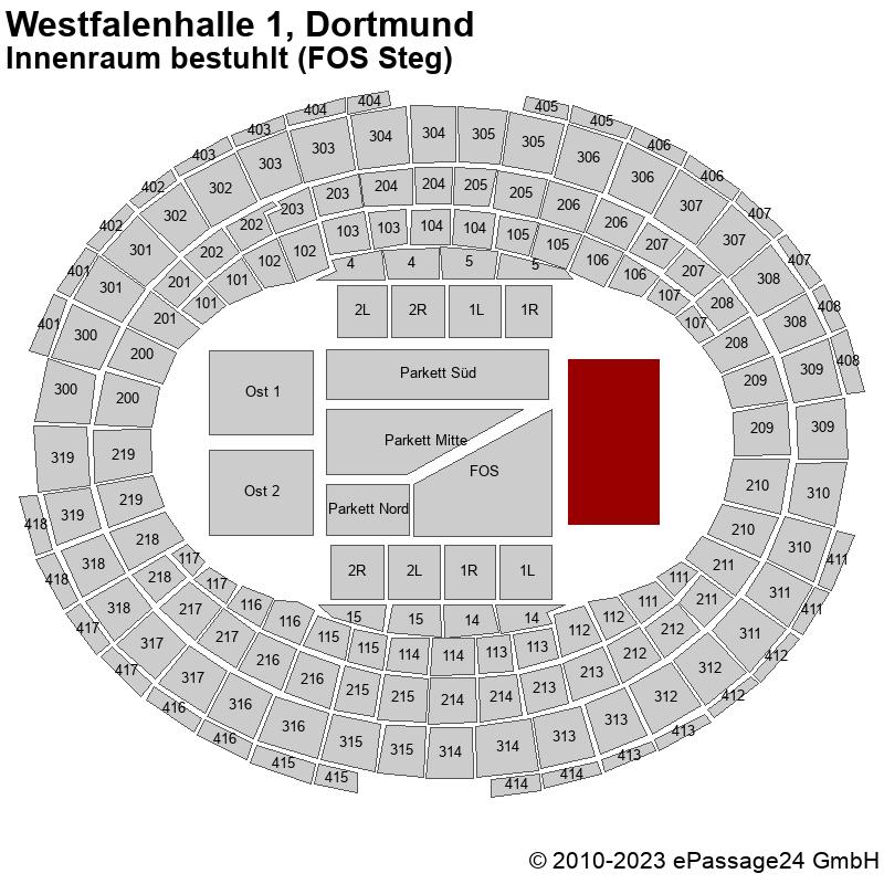 Saalplan Westfalenhalle 1, Dortmund, Deutschland, Innenraum bestuhlt (FOS Steg)