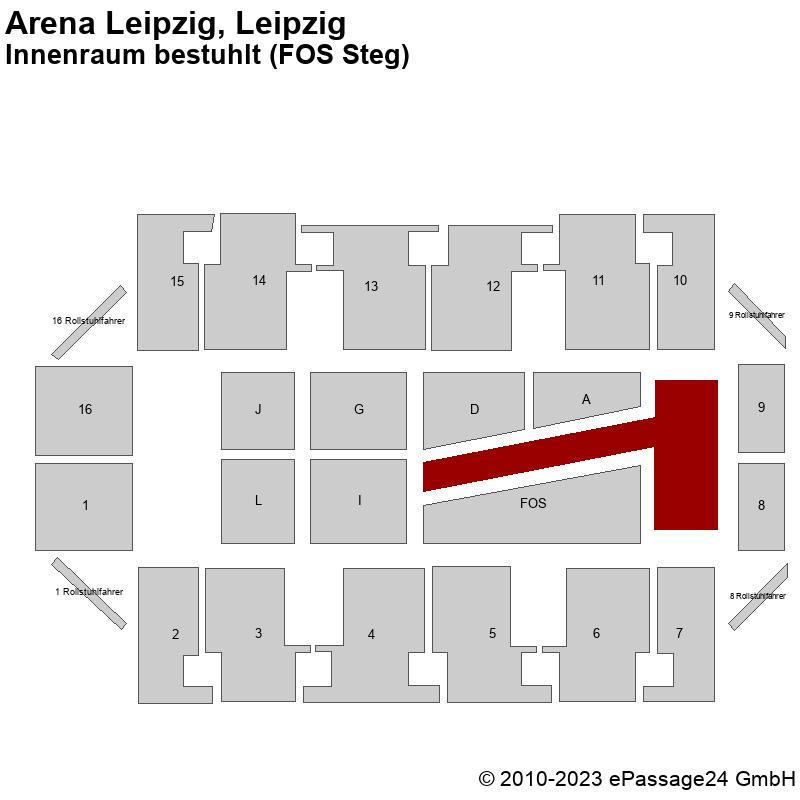 Saalplan Arena Leipzig, Leipzig, Deutschland, Innenraum bestuhlt (FOS Steg)