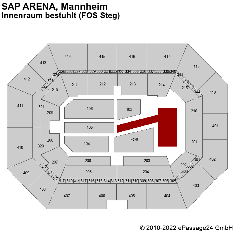 Saalplan SAP ARENA, Mannheim, Deutschland, Innenraum bestuhlt (FOS Steg)