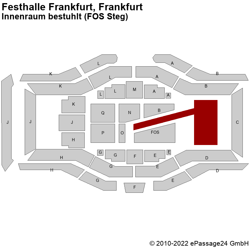 Saalplan Festhalle Frankfurt, Frankfurt, Deutschland, Innenraum bestuhlt (FOS Steg)