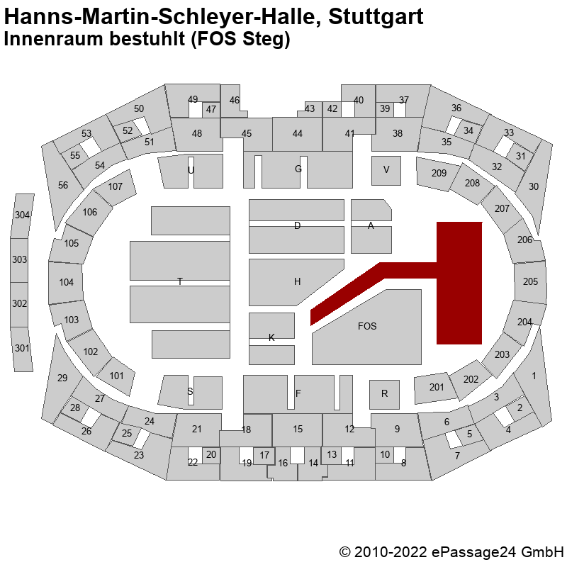 Saalplan Hanns-Martin-Schleyer-Halle, Stuttgart, Deutschland, Innenraum bestuhlt (FOS Steg)