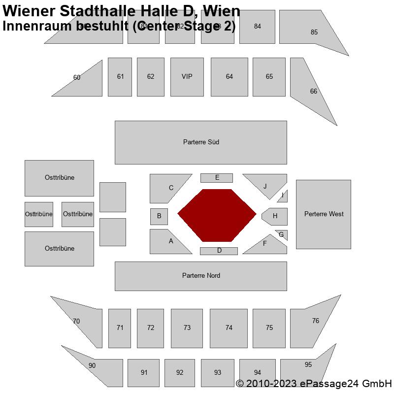Saalplan Wiener Stadthalle Halle D, Wien, Österreich, Innenraum bestuhlt (Center Stage 2)