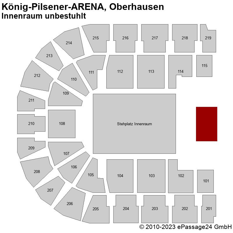 Saalplan König-Pilsener-ARENA, Oberhausen, Deutschland, Innenraum unbestuhlt