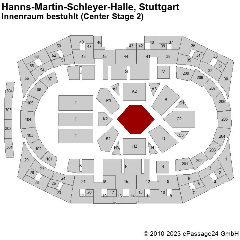 Saalplan Hanns-Martin-Schleyer-Halle, Stuttgart, Deutschland, Innenraum bestuhlt (Center Stage 2)