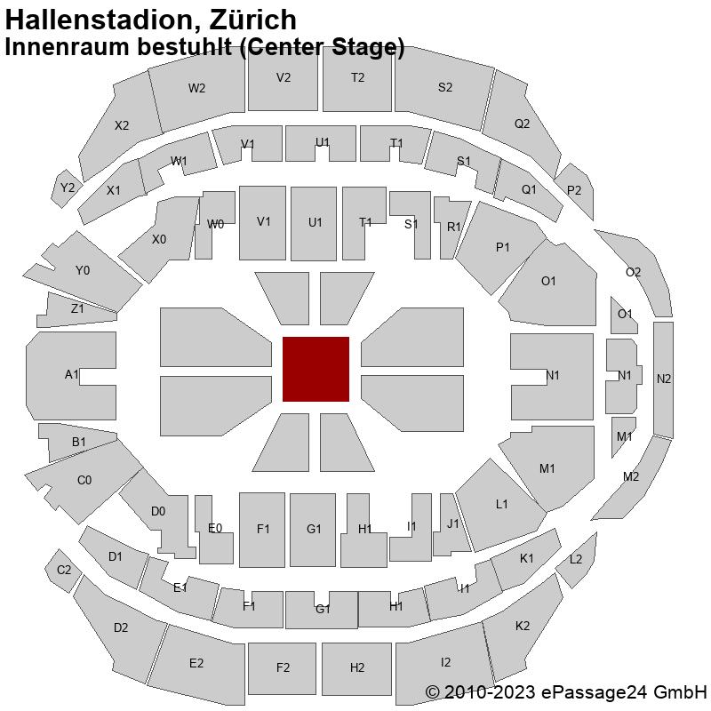 Saalplan Hallenstadion, Zürich, Schweiz, Innenraum bestuhlt (Center Stage)