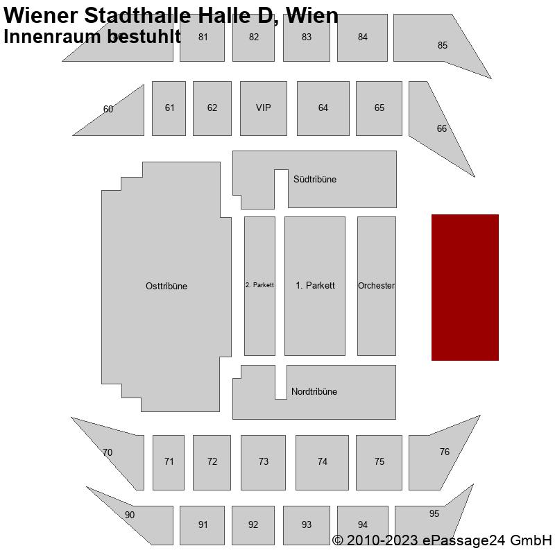 Saalplan Wiener Stadthalle Halle D, Wien, Österreich, Innenraum bestuhlt