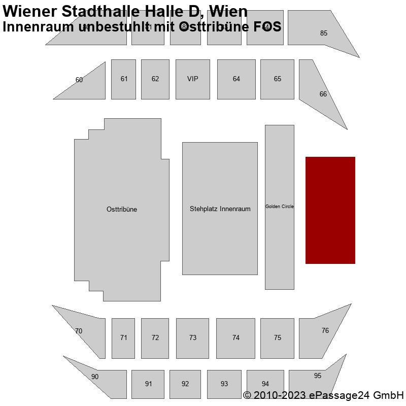 Saalplan Wiener Stadthalle Halle D, Wien, Österreich, Innenraum unbestuhlt mit Osttribüne FOS