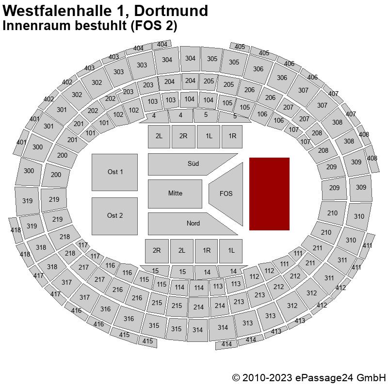 Saalplan Westfalenhalle 1, Dortmund, Deutschland, Innenraum bestuhlt (FOS 2)