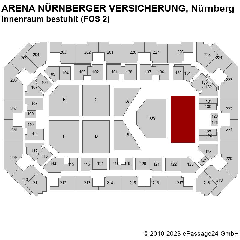 Saalplan ARENA NÜRNBERGER VERSICHERUNG, Nürnberg, Deutschland, Innenraum bestuhlt (FOS 2)