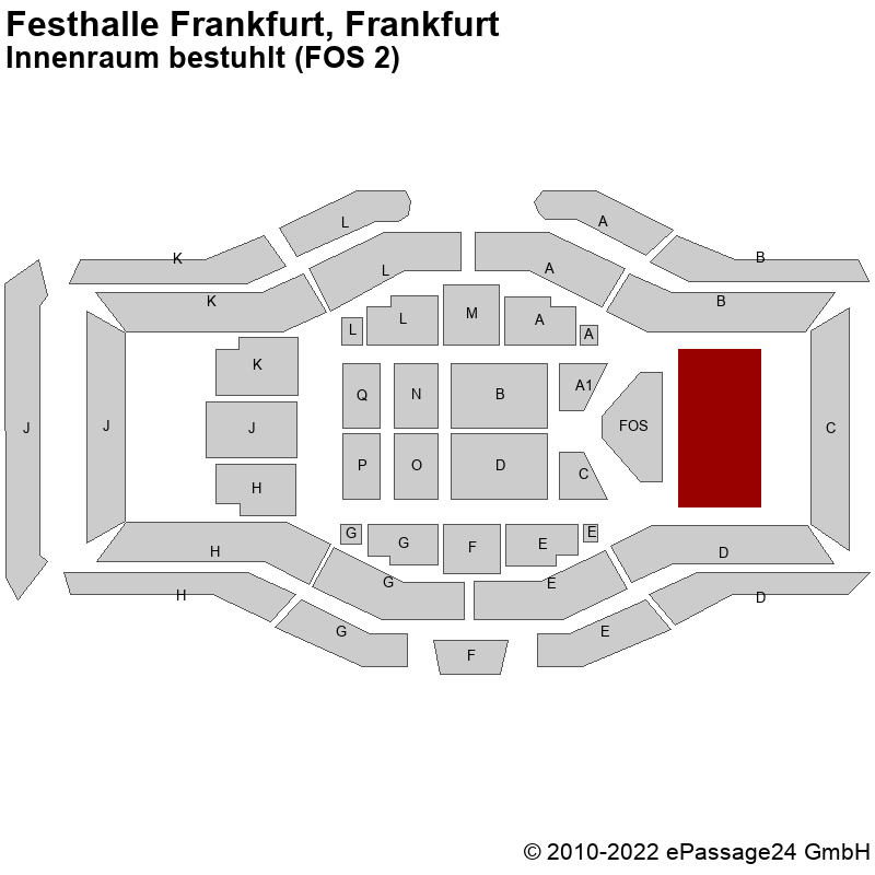 Saalplan Festhalle Frankfurt, Frankfurt, Deutschland, Innenraum bestuhlt (FOS 2)