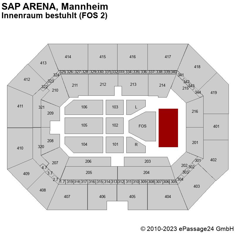 Saalplan SAP ARENA, Mannheim, Deutschland, Innenraum bestuhlt (FOS 2)